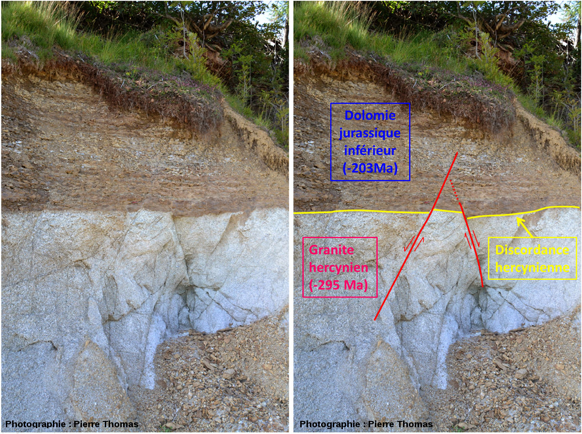 La discordance hercynienne affectée par des failles normales, au bord de la RN 88 entre Le Puy et Mende (Lozère)