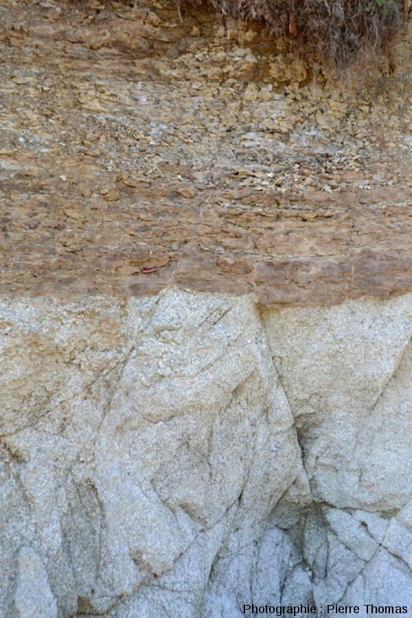 Vue sur le horst formé par deux failles conjuguées affectant granite, discordance et dolomie