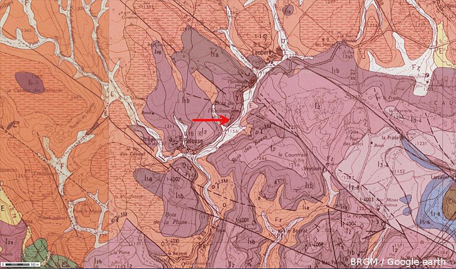 """Carte géologique BRGM """"à plat"""" montrant la discordance"""