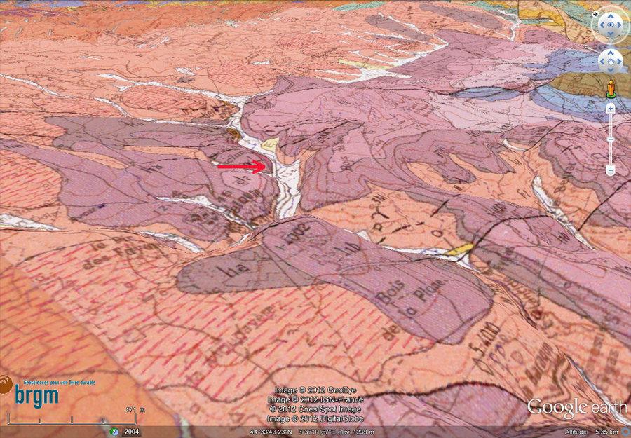 Carte géologique BRGM en relief montrant la discordance