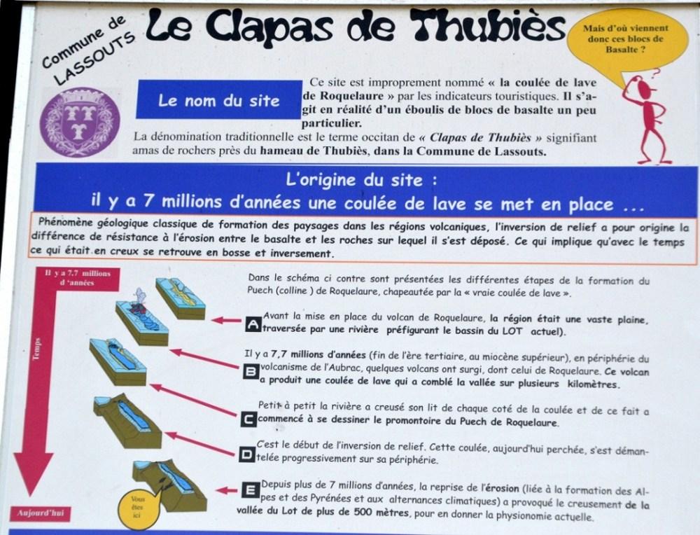 Le haut du panneau explicatif situé au niveau du petit parking du clapas de Thubiès, Aveyron