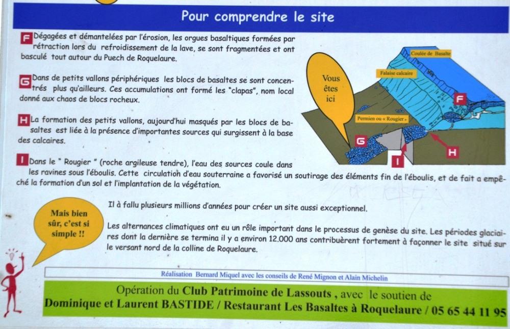 Le bas du panneau explicatif situé au niveau du petit parking du clapas de Thubiès, Aveyron