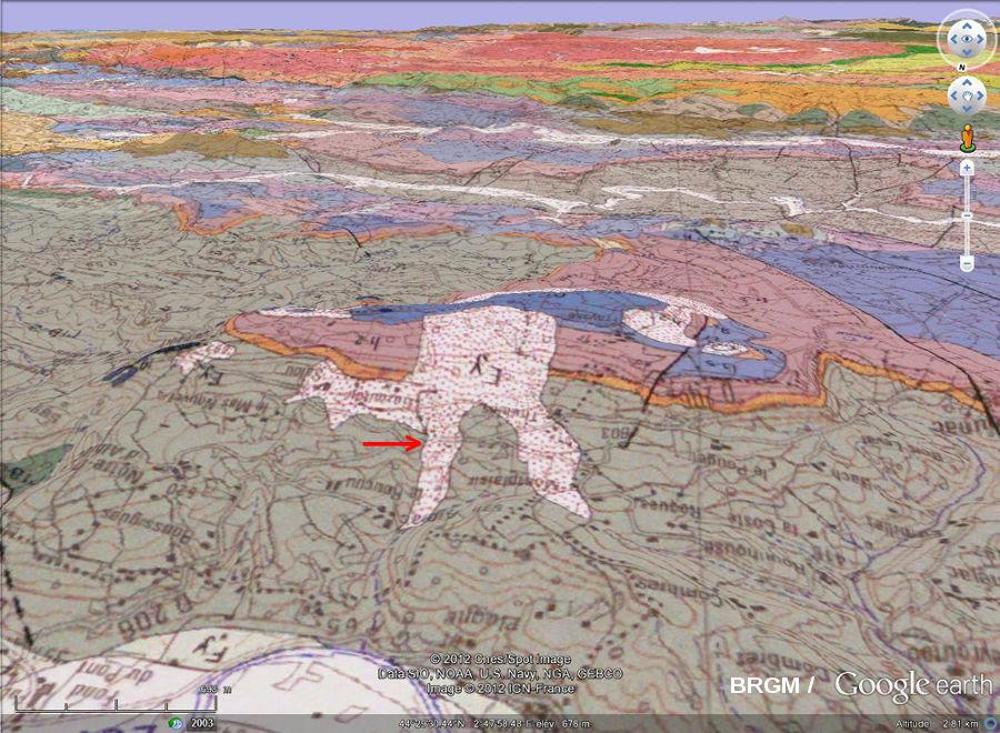 Carte géologique en relief montrant le cadre géologico-topographique du clapas de Thubiès