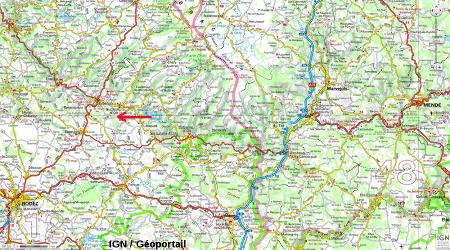 Extrait de carte IGN localisant le clapas de Thubiès (Aveyron)