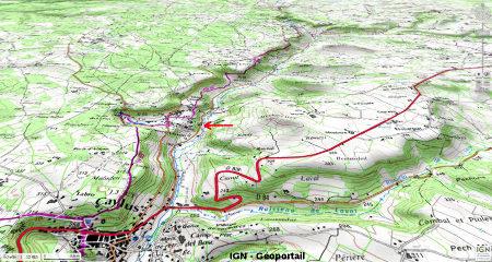 Carte topographique montrant le cadre géomorphologique des stromatolithes et de la cascade de St Pierre-Livron (flèche rouge)