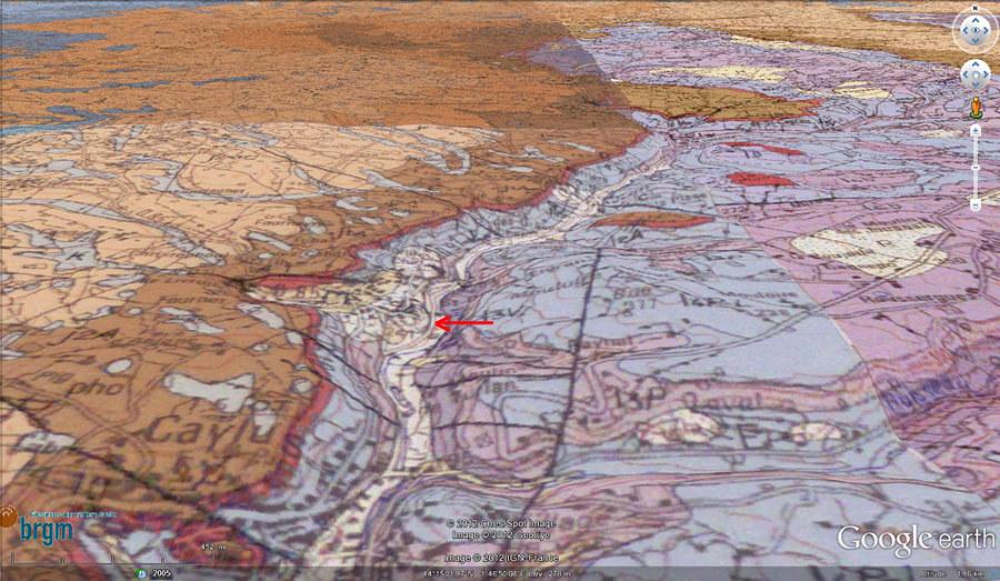 Cadre morphologico-géologique des stromatolithes et de la cascade de Saint Pierre-Livron (flèche rouge)