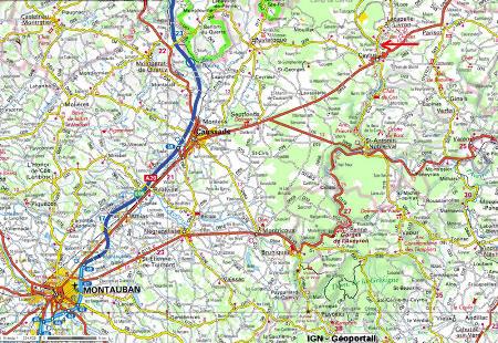 Localisation des stromatolithes et de la cascade de Saint Pierre-Livron (flèche rouge), Caylus, Tarn et Garonne
