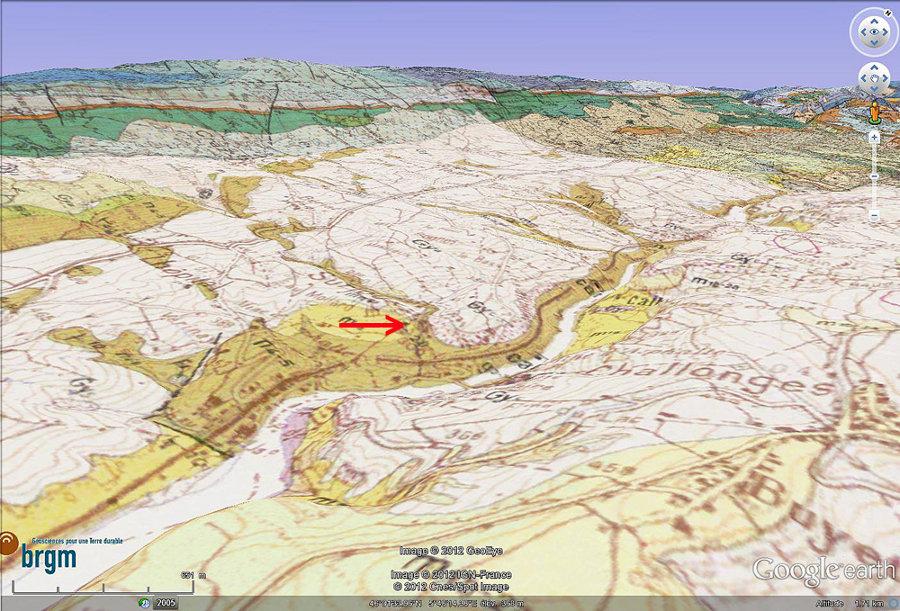 Carte géologique oblique montrant le contexte morphologico-géologique du Pain de Sucre (flèche rouge) de Pyrimont (Ain)