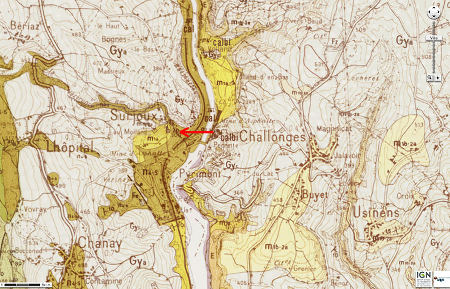 Carte géologique montrant le contexte morphologico-géologique du Pain de Sucre (flèche rouge) de Pyrimont (Ain)