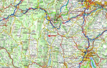 Localisation du Pain de Sucre de Pyrimont (Surjoux, Ain), non loin d'Annecy et de Genève