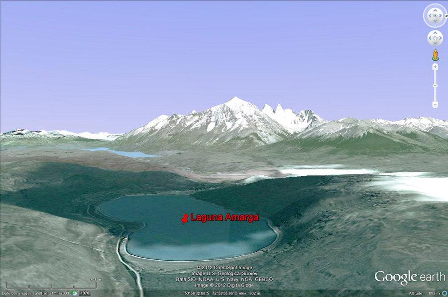 Vue Google earth de la Laguna Amarga (Patagonie chilienne)