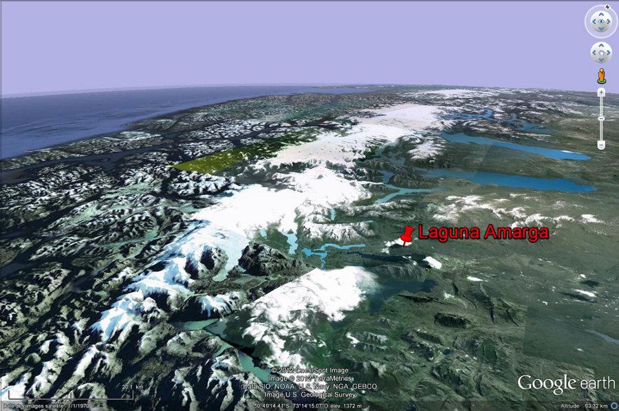 Localisation de la Laguna Amarga, au pied du versant oriental des Andes de Patagonie