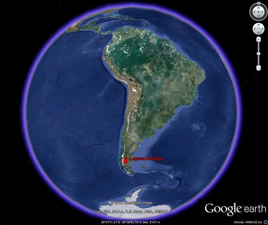 Localisation de la Laguna Amarga en Amérique du Sud