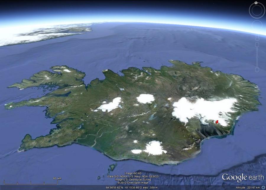 Localisation des sites de prises de vue (punaise rouge) sur le flanc Sud-Ouest du Vatnajökull