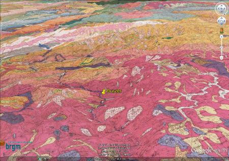 Vue oblique de la carte géologique de Burzet 1/50.000