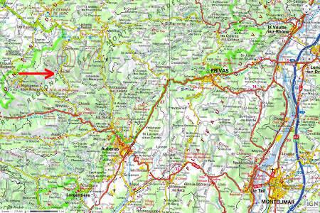 Localisation du village de Burzet (Ardèche) sur fond de carte IGN