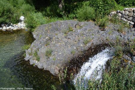 Affleurement de basalte à enclaves de péridotite, Burzet (Ardèche)