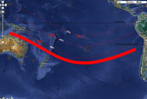 Visibilité de l'éclipse du 13-14 novembre 2012 depuis les territoires français du Pacifique