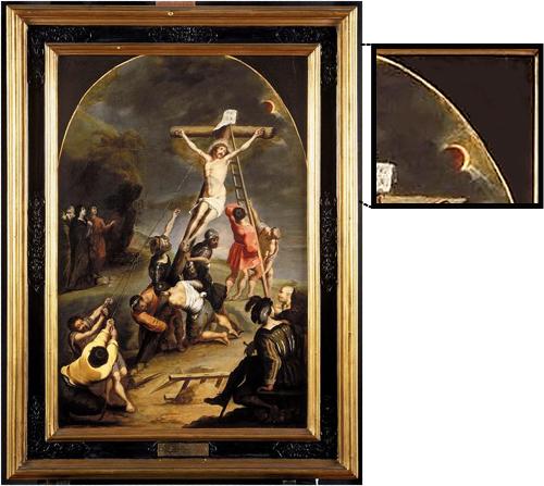 L'érection de la Croix, Cornelis de Vos (1584-1651), huile sur bois (0.766 x 0.513 m), Valenciennes, musée des Beaux-Arts