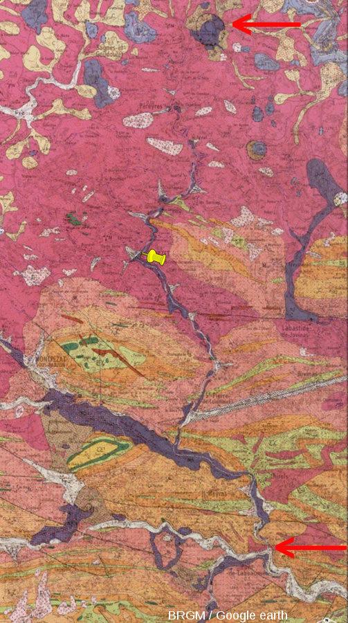 Extrait de la carte géologique Burzet au 1/50000 montrant la totalité de la coulée du Ray Pic