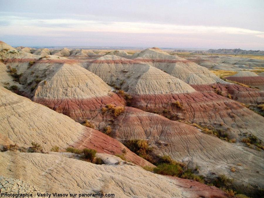 Figure d'érosion dans le Parc national des Badlands, Dakota du Sud, USA