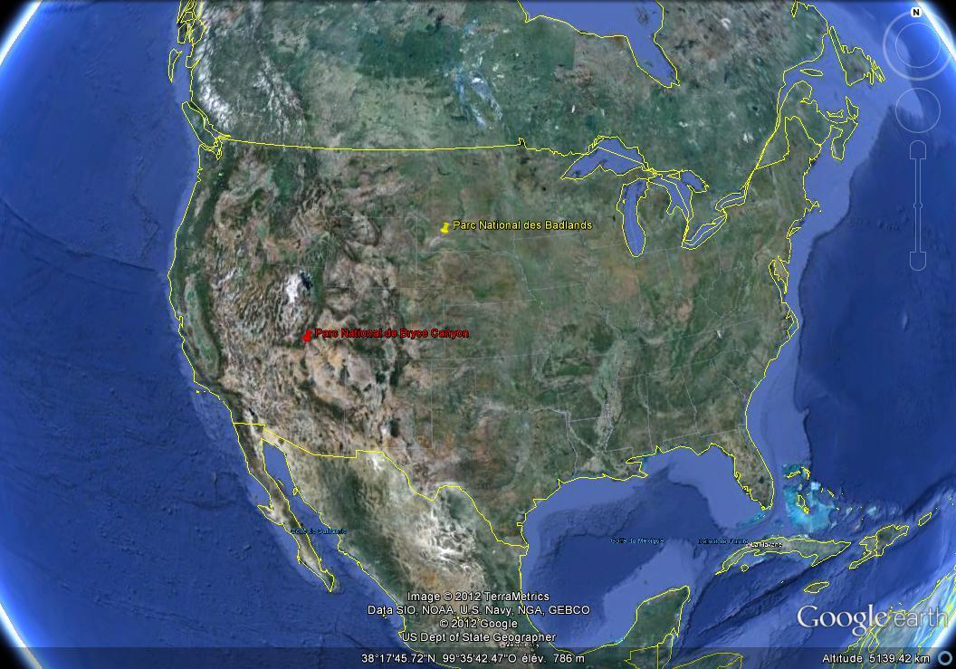 Localisation des parcs nationaux de Bryce Canyon, dans l'Utah (en rouge), et des Badlands, dans le Dakota du Sud (en jaune)