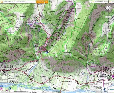 Carte topographique du secteur de la «Salle de bal des demoiselles coiffées», Théus, Hautes Alpes
