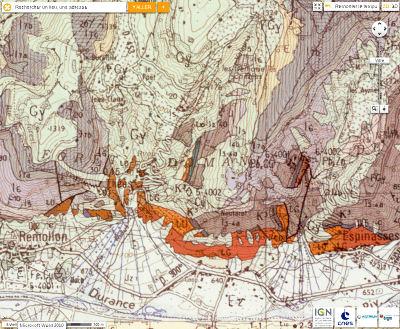 Carte géologique du secteur de la «Salle de bal des demoiselles coiffées», Théus, Hautes Alpes