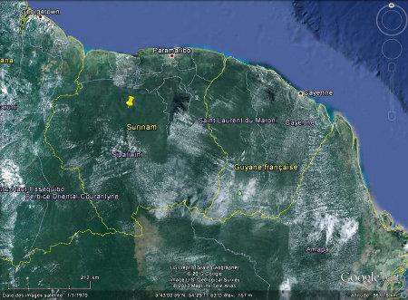 Localisation du Voltzberg au Suriname