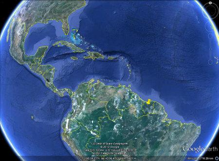 Localisation du Voltzberg en Amérique du Sud