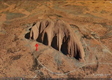 Image oblique Google Earth d'Uluru