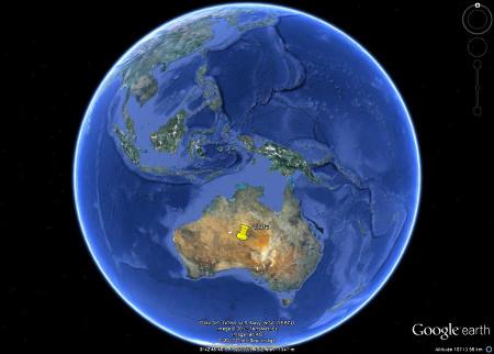 Localisation d'Uluru au centre de l'Australie