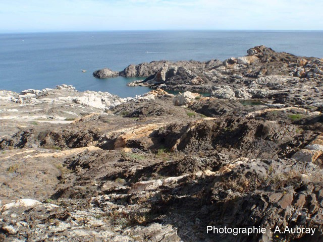Taffonis affectant des micaschistes, Cap de Creus (Espagne)