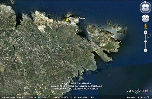 Localisation (punaise) de l'anse à taffonis, Cap de Creus (Espagne)