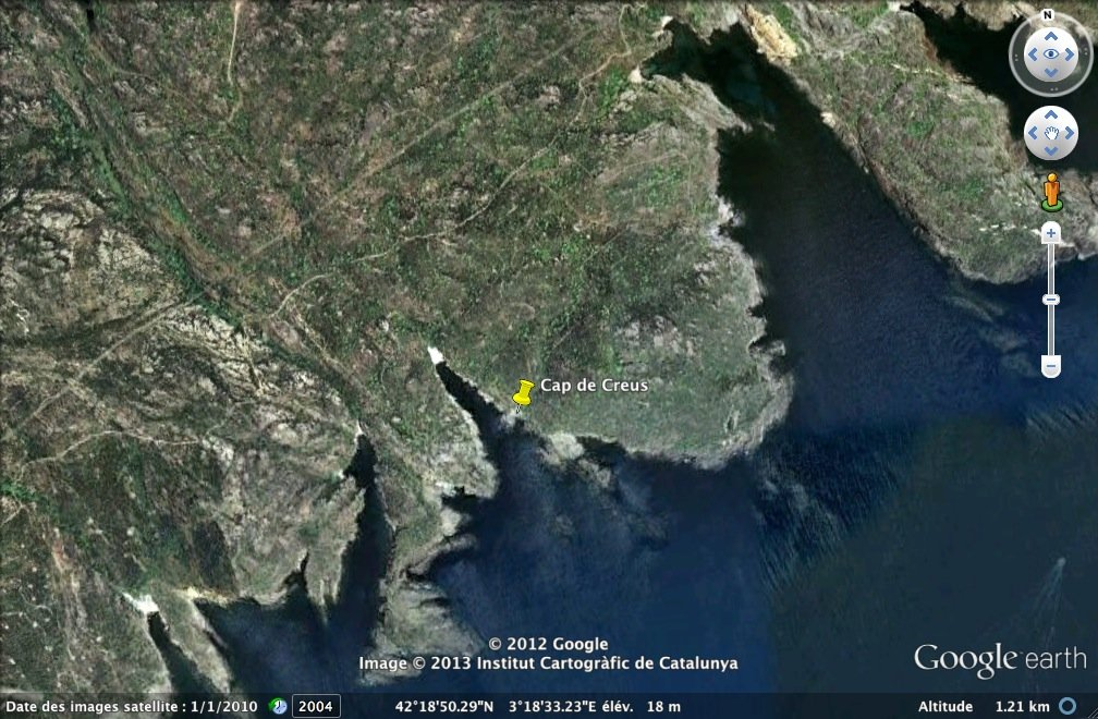 Localisation (punaise) des micaschistes mylonitisés à taffonis, Cap de Creus (Espagne)
