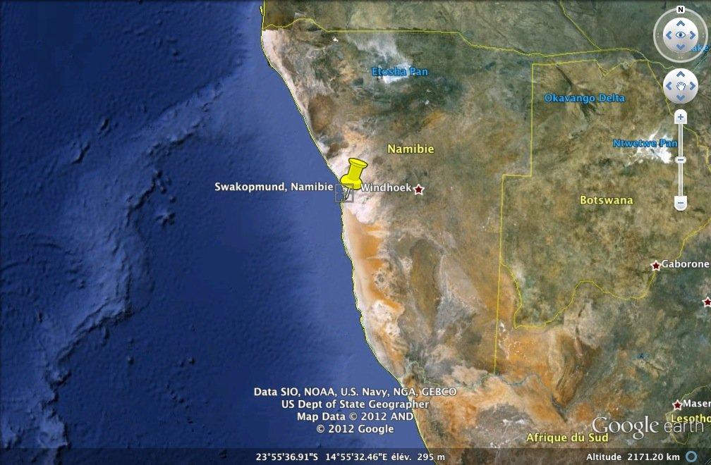 Localisation de la ville de Swakopmund en Namibie