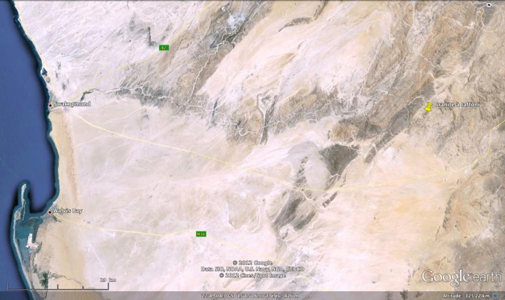 Localisation des granites à taffonis à l'Est de Swakopmund, Namibie