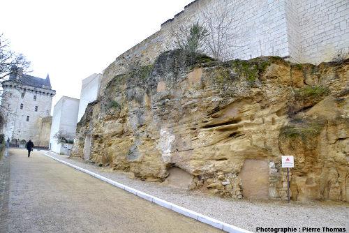 Affleurement de calcaire bioclastique turonien sur le bord de la rue conduisant à la citadelle de Chinon (Indre et Loire)