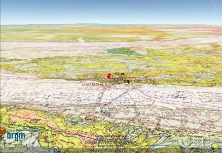 Carte géologique de la région de Chinon (Indre et Loire)