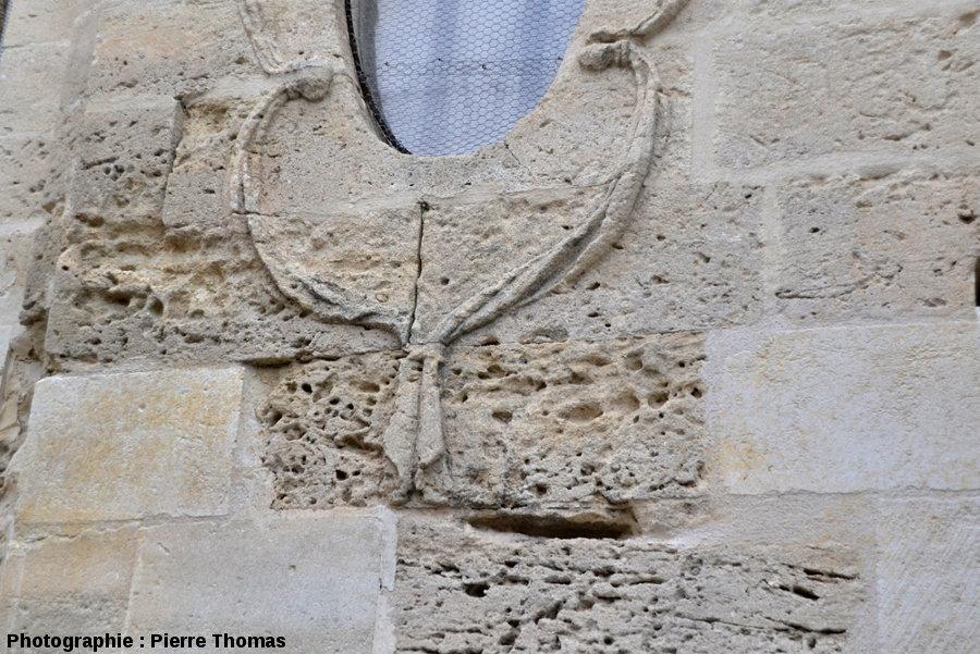 Détail d'un mur de l'église Saint Étienne d'Uzès particulièrement attaqué par l'érosion alvéolaire avec de superbes taffonis sensu lato