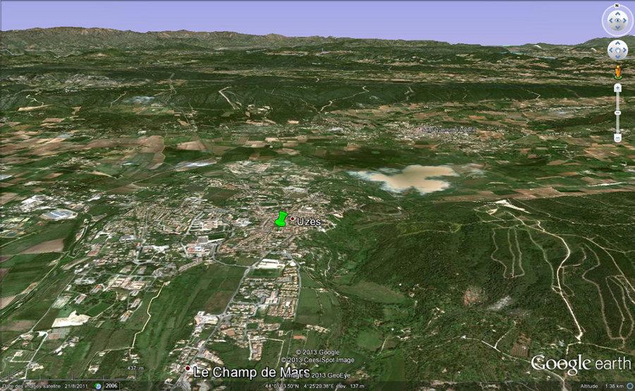 Vue de la région d'Uzès (Gard)