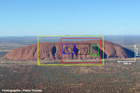 Vue générale d'Uluru localisant les figures 1 à 5 et donnant l'échelle de cet énorme inselberg australien