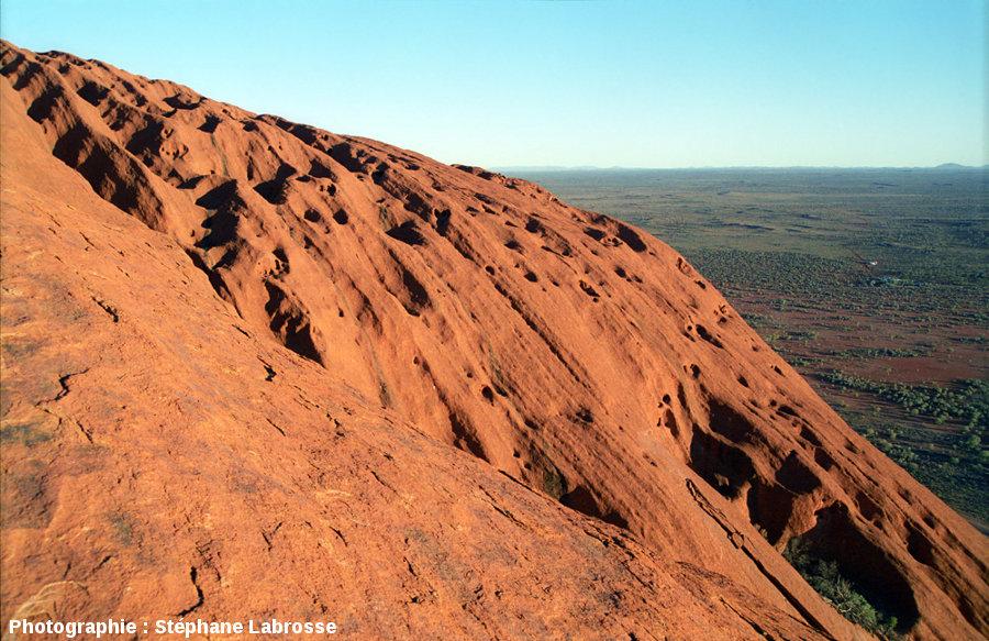 Les taffonis de la face NO d'Uluru, en montant sur cette face