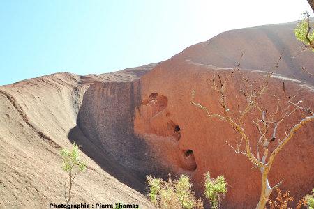 """Le «cœur d'Uluru», """"creusé"""" dans l'une des vallées de la face Sud d'Uluru, Australie"""
