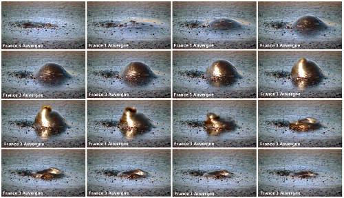 Séquence d'images montrant l'apparition, le gonflement, l'éclatement et l'affaissement d'une bulle de CO2