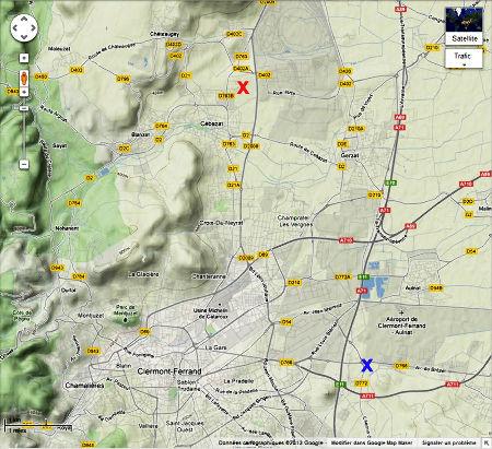 Localisation du site de l'éruption de pétrole de fin 2012 – début 2013 (croix rouge) au Nord de Cébazat, dans la banlieue clermontoise (Puy de Dôme)