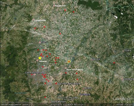 Localisation des forages pétroliers effectués en Auvergne depuis 1883 (étoiles rouges)