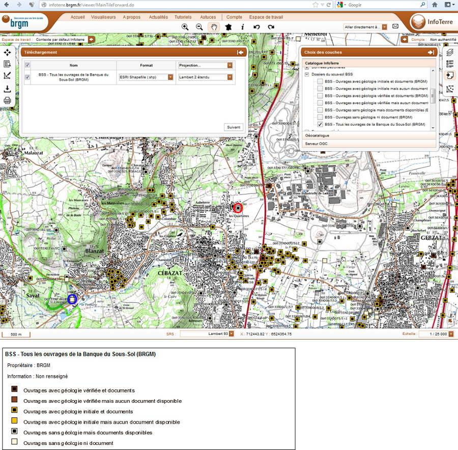 Montage de copies d'écran extraites du site InfoTerre du BRGM montrant la localisation et le type de tous les ouvrages souterrains recensés par le BRGM dans le secteur de Cébazat