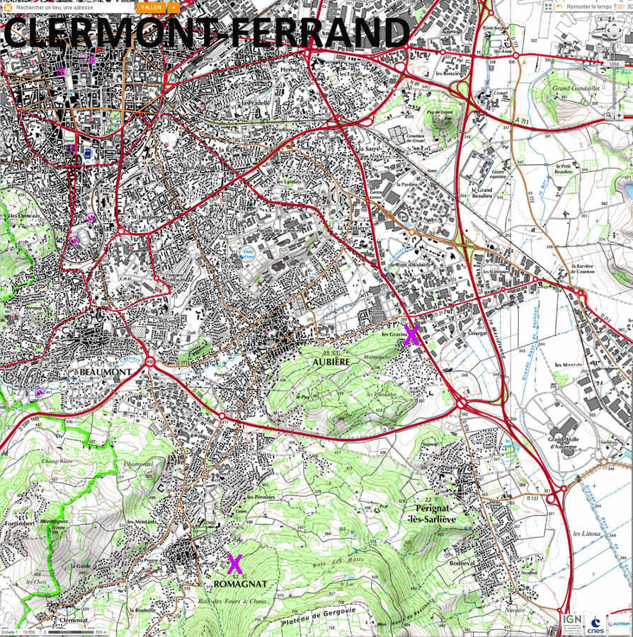 Localisation, sur fond topographique, des fours à chaux (croix violette) d'Aubière (détruits) et de Romagnat (les plus jeunes existent encore), deux communes de la banlieue Sud de Clermont-Ferrand