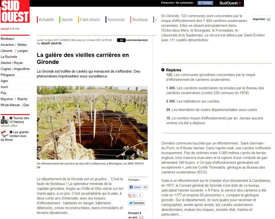 Extrait de la version web du journal Sud Ouest du 14 mars 2011 exposant le problème des effondrements d'anciennes carrières